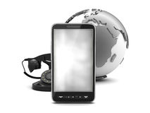 Mobile phone, rotary phone and earth globe Royalty Free Stock Photo