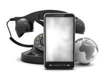 Mobile phone, rotary phone and earth globe Stock Photos