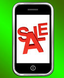 Mobile Phone Sale Screen Shows Online Discounts Stock Image