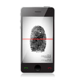 Mobile phone scanning a finger print. Illustration design over white Stock Image
