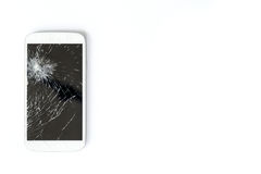 Mobile phone screen is broken. royalty free stock images