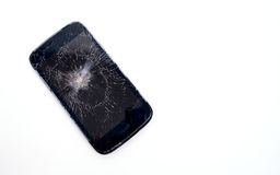 Mobile phone screen is cracked Royalty Free Stock Images