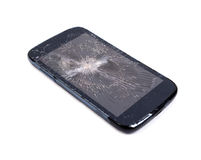 Mobile phone screen is cracked Stock Photo