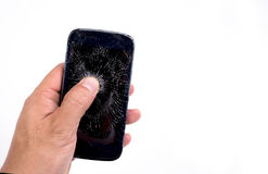 Mobile phone screen is cracked Stock Image
