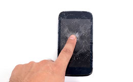 Mobile phone screen is cracked Royalty Free Stock Image