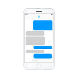 Mobile phone  screen messaging text boxes empty bubles Royalty Free Stock Photo