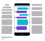 Mobile phone screen messaging text boxes empty bubles. Anonymous chat design on smartphone screen royalty free illustration