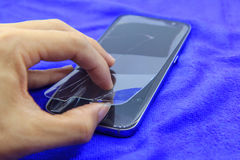 Mobile phone screen protect are broken Stock Photography