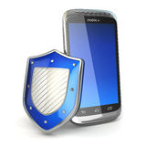 Mobile phone security concept. Cellphone and shield. stock illustration