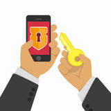 Mobile phone security concept Royalty Free Stock Photos