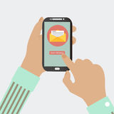 MOBILE PHONE SEND MESSAGE Stock Images