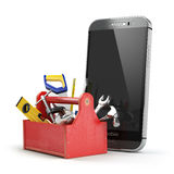 Mobile phone service concept. Online support. Smartphone  with t Stock Images