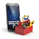 Mobile phone service concept. Online support.  Royalty Free Stock Photo