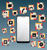 Mobile Phone and Set of Icons. In vector Royalty Free Stock Photo