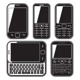 Mobile phone set. Touchscreen and slider. Modern mobile phone set. With QWERTY keyboard, Touchscreen and slider. design concept Black and white vector icon Royalty Free Stock Photos