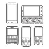 Mobile phone set. Touchscreen and slider. Modern mobile phone set. With QWERTY keyboard, Touchscreen and slider. design concept Black and white vector icon Royalty Free Stock Photo