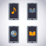 Mobile phone set. Touchscreen Smart Phone with Media Application (apps, music, ebooks). Vector Illustration royalty free illustration