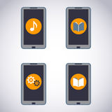 Mobile phone set. Touchscreen Smart Phone with Media Application (apps, music, ebooks). Vector Illustration stock illustration