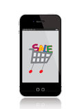 Mobile phone with shopping cart. Illustration of a mobile phone displaying a shopping cart with SALE word inside Royalty Free Stock Photography