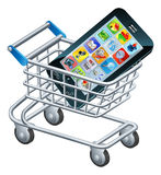 Mobile phone shopping cart Stock Photos