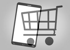 Mobile Phone Shopping Cart Royalty Free Stock Image