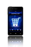 Mobile phone with shopping cart screen over white background Royalty Free Stock Images