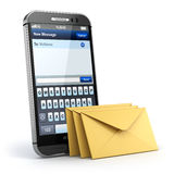 Mobile phone with short message service. Sms on the screen. Royalty Free Stock Images