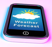 Mobile Phone Shows Cloudy Sun Weather Forecast Stock Photography