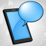 Mobile Phone Shows Talking Cellphone And Gossip Royalty Free Stock Image