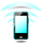 Mobile phone and signal Royalty Free Stock Images