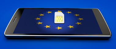 Mobile Phone and sim card, abolition of roaming in the European Union. Europe flag. 3d rendering Royalty Free Stock Photo