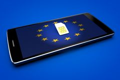 Mobile Phone and sim card, abolition of roaming in the European Union. Europe flag Royalty Free Stock Photos