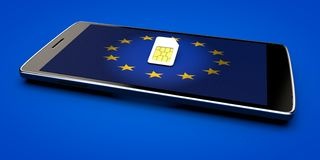 Mobile Phone and sim card, abolition of roaming in the European Union. Europe flag. 3d rendering Royalty Free Stock Images