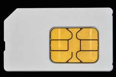Mobile phone sim card isolated on black Stock Image