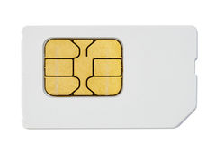 Mobile phone sim card isolated on white Stock Images