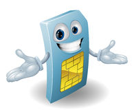 Mobile phone sim card mascot Stock Photos