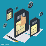 Mobile phone SIM cards vector concept. Mobile phone SIM cards flat isometric vector concept illustration royalty free illustration