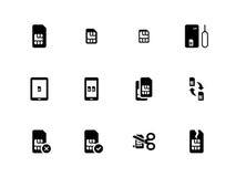Mobile phone SIM icons on white background Stock Image