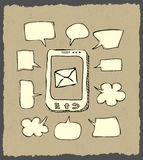 Mobile phone sketch with speeches on dark paper Stock Photography