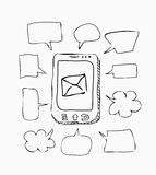 Mobile phone sketch with speeches on white Royalty Free Stock Photography