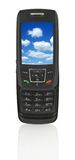 Mobile phone with sky. Close-up of slide phone with gorgeous blue sky (photo inside is my property Royalty Free Stock Photos