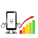 Mobile phone, Smart phone cartoon. With chart on isolated white background vector illustration