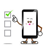 Mobile phone, Smart phone cartoon. Smile screen on isolated background stock illustration