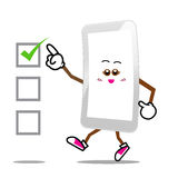 Mobile phone, Smart phone. Cartoon smile screen on isolated background royalty free illustration
