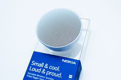 Mobile phone smartphone accesories - portable speaker Royalty Free Stock Photos