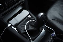 Free Mobile Phone, Smartphone Charge Battery, Charging In The Car Plug Close Up Stock Photography - 171452102