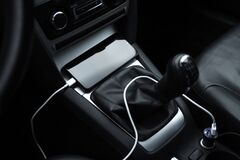 Free Mobile Phone, Smartphone Charge Battery, Charging In The Car Plug Close Up Royalty Free Stock Photography - 173728607