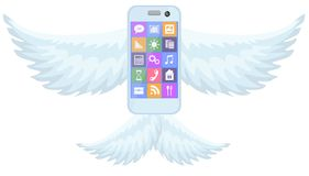 Mobile phone smartphone with wings on white Royalty Free Stock Images