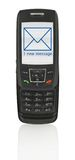 Mobile phone with SMS. Close-up of slide phone with SMS on screen Stock Image