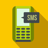 Mobile phone with sms message symbol flat icon Royalty Free Stock Photography